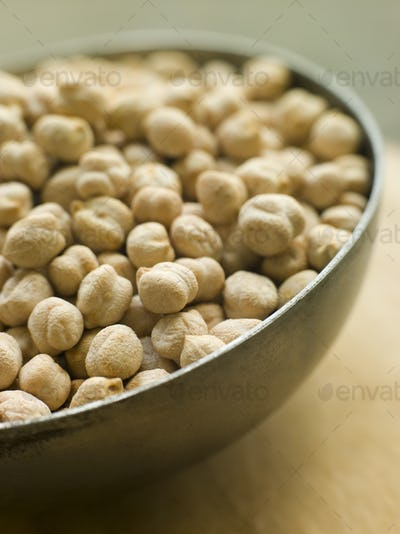 Bowl of uncooked Chickpeas