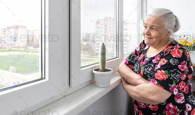 A cute elderly woman looks out the window.