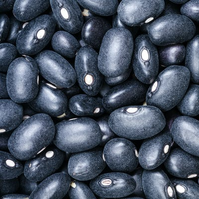 uncooked black mexico beans close up