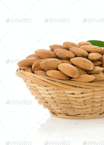 set of almond nuts isolated on white