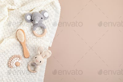 Eco fiendly organic baby rattle and teethers