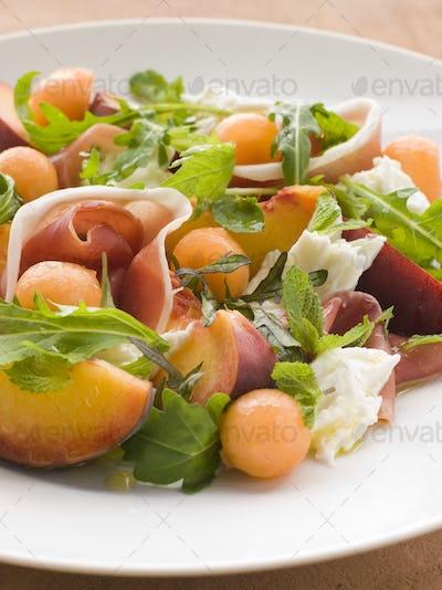 Platter of Cantaloupe Melon Parma Ham Mozzarella Cheese and Peach