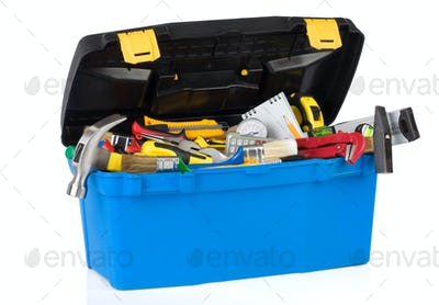 tools in construction toolbox isolated on white