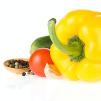 bell pepper and vegetable isolated on white