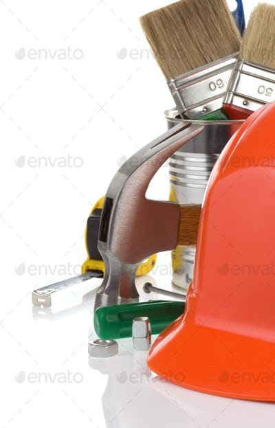 set of tools and helmet isolated on white