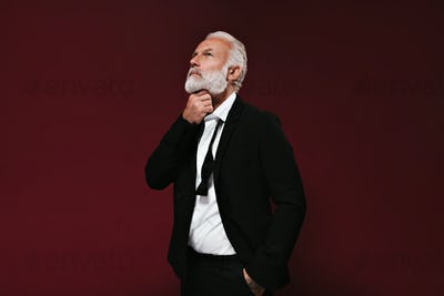 White haired man in suit thoughtfully posing. Portrait of bearded guy in white shirt and black mode
