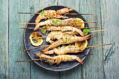Grilled langoustine shrimps on a skewer