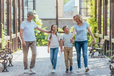 grandchildren holding hands with grandparents while walking together on street