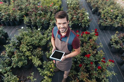 high angle view of smiling gardener in apron with tablet working in garden