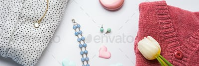 Spring woman clothes flat lay. Flower, hearts