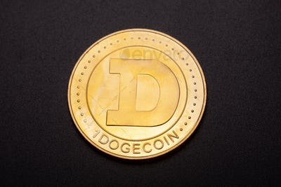 crypto currency coin isolated on black background