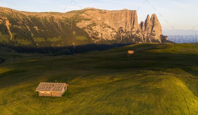 Aerial view of the grand landscape of the Dolomites