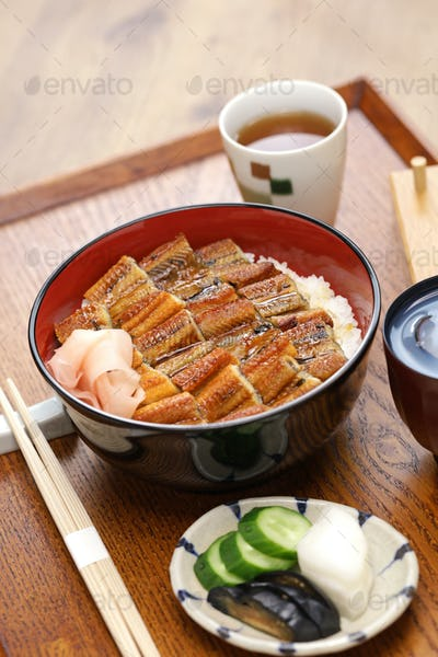 Anagodon,  rice bowl with grilled conger eel, japanese food