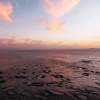 Beautiful coast of Jarilgach island, Ukraine at evening time