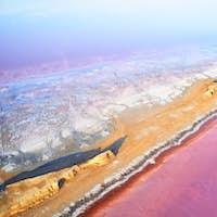 Amazing purple water. Aerial view of Jarilgach island in Ukraine. Majestic landscapes