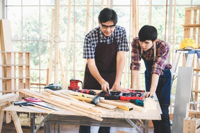 professional carpenters woodworking teamwork together creatively
