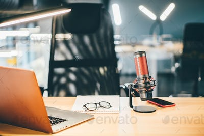 Microphone in recording studio or broadcast room.