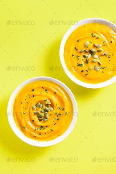 Pumpkin puree in bowls