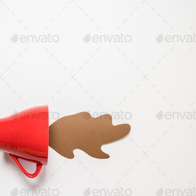 Red Mug with spilled paper coffee. Space for text, top view