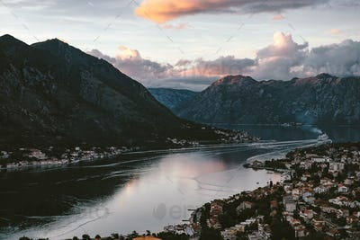 Evening View of Bay of Kotor old town from Lovcen mountain.