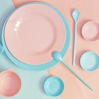 pink and blue tableware