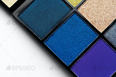 Make up colorful eyeshadow palettes, close up