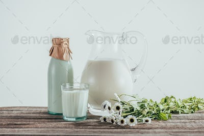 jug, bottle and glass of fresh milk with chamomile flowers on shabby wooden tabletop