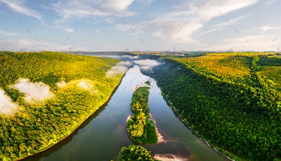 Aerial drone photo through majestic river Dnister