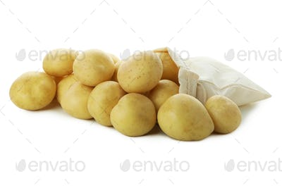 Bag with young potato isolated on white background