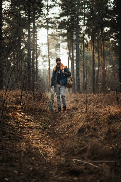 Hiker man in the forest
