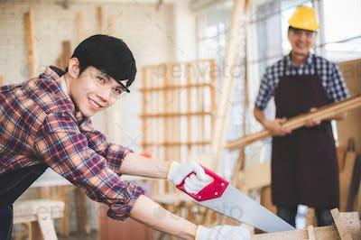 professional carpenters woodworking teamwork together creatively carpenter working workshop