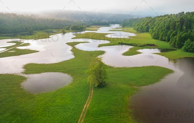 Flooded countryside after a heavy rain