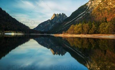 Beautiful autumn evening at the lake