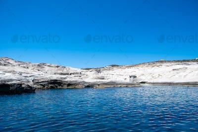 Sarakiniko beach at Milos island, Cyclades Greece. White rock formations