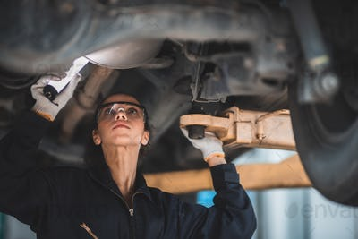 background of mechanic working about auto car engine service, technician having automotive job