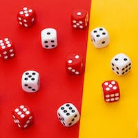 Gaming dice on color background. creative photo