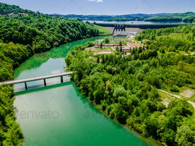 Renewable Green Energy. Hydropower Plant on Solina Lake in Poland. Drone View