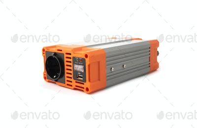 Car power inverter dc to ac isolated on white background