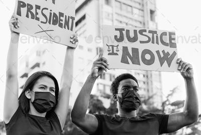 Activist social movement protesting against racism and fighting for justice and equality