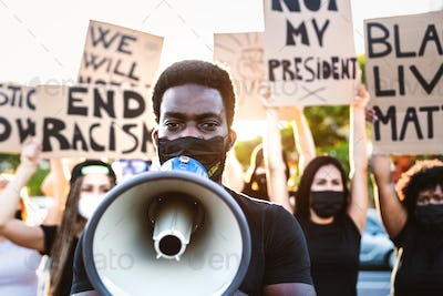 Black lives matter activist movement protesting against racism and fighting for equality