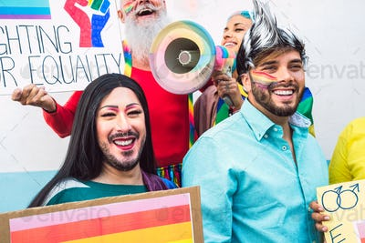 Gay activist people LGBT social movement protesting for homosexual rights - Gender equality concept
