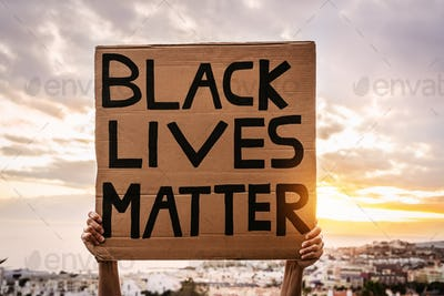 Black lives matter banner - Activist movement protesting against racism and fighting for equality