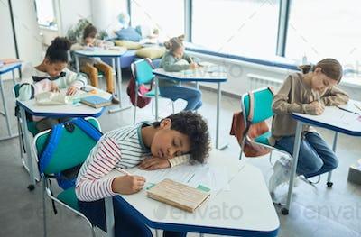 Boy Sleeping in School Classroom