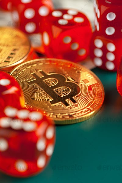 Bitcoins, dollars and dices. close up. creative photo