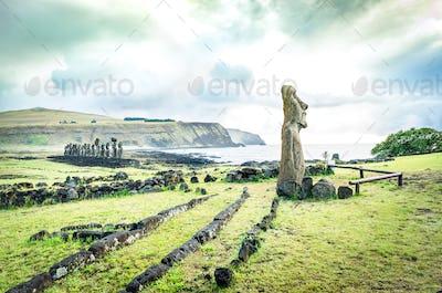 """Moai Ha'ere Ki Haho """" The Traveling Statue """" at the entrance of Ahu Tongariki spot area"""