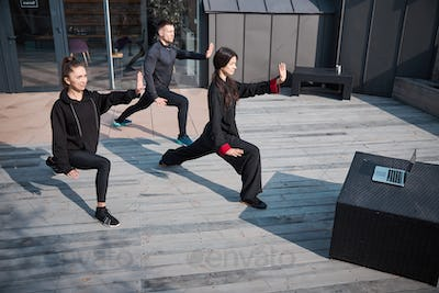 Kung fu group following laptop video while doing tai chi