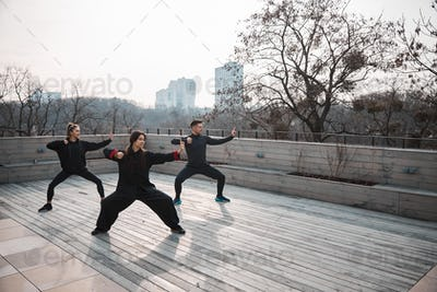 Tai chi group learning fighting stance on fresh air