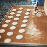 Skilled confectioner with a syringe preparing base for macarons