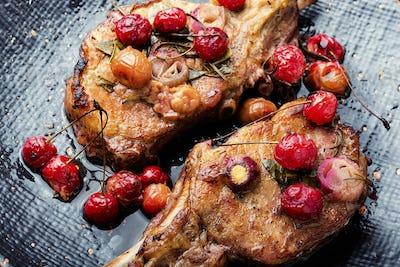 Meat pork in cherry sauce