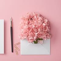 top view of blank card, ink pen and pink flowers in white envelope isolated on pink